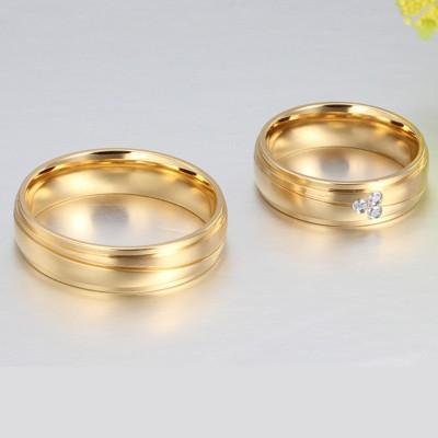 Acier au Titane Or Coupe Ronde Saphir Blanc Bagues de Promesse pour les Couples