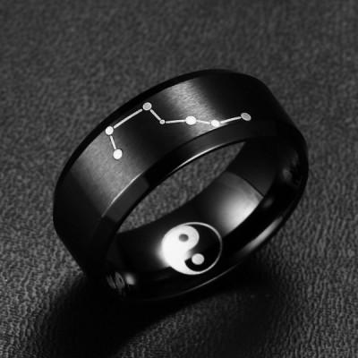 Titane GrosDipper Yin et Yang Noir Bague de Homme