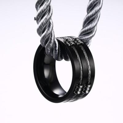 Titane Noir Acier Wire Bague de Homme