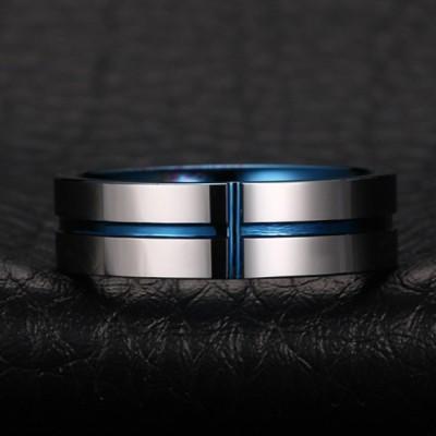 Tungstène Bleu & Argent Cross Bague de Homme