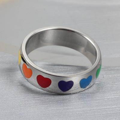 Titane Coloré Coeur Argent Bagues de Promesse pour Elle