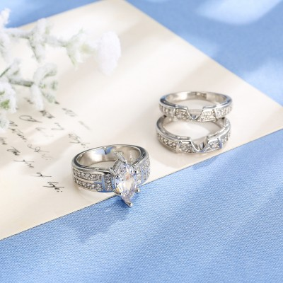 Coupe Marquise Saphir Blanc 3 Pièces Ensembles de Bague de Mariage