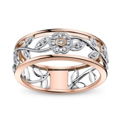 Exquis Floral Or Rosé Alliances Femme