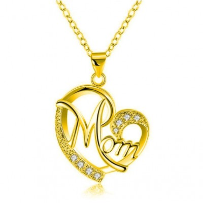 "Coupe Ronde Saphir Blanc Or Coeur ""Mom"" Collier"