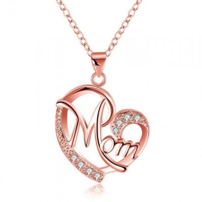 "Coupe Ronde Saphir Blanc Or Rosé Coeur ""Mom"" Collier"