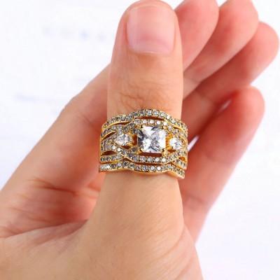 Coupe Princesse Saphir Blanc Or Three-Stone 3 Pièces Ensembles de Bague de Mariage