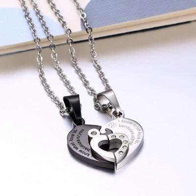 Coeur Désign Noir et Argent 925 Argent Sterling Collier