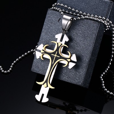 Cool Or et Argent Cross 925 Argent Sterling Collier