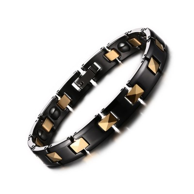 Noir et Or 925 Argent Sterling Chaîne Bracelet