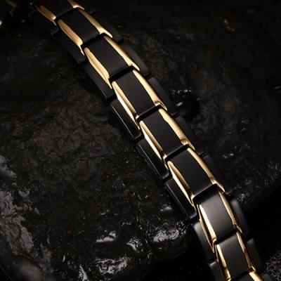 Cool Noir et Or 925 Argent Sterling Chaîne Bracelet
