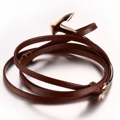 Scarlet CuirOr Rosé Anchor 925 Argent Sterling Bracelet