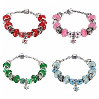 Rouge/Rose/Blanc/Émeraude/Aigue-marine Argent Titane Bracelets