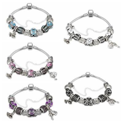 Rose/Aigue-marine/Blanc/Noir/Bleu/Améthyste Argent Titane Bracelets