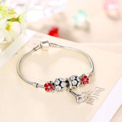 Rouge et Blanc Petals Tour Eiffel Pendant S925 Argent Bracelets