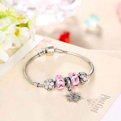 Rose Petals Agréable Pendant S925 Argent Bracelets