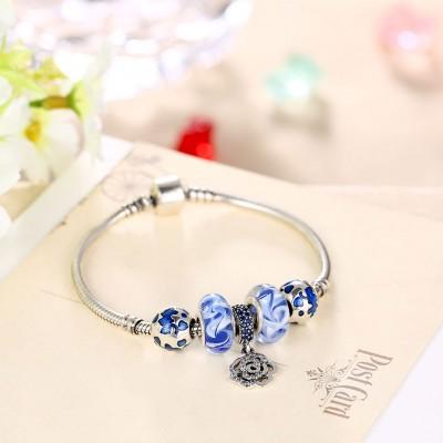 Bleu Accessories Fleur Pendant S925 Argent Bracelets