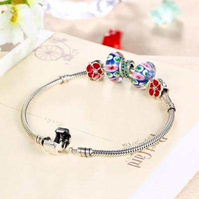 Rouge Accessories Fleur Pendant S925 Argent Bracelets