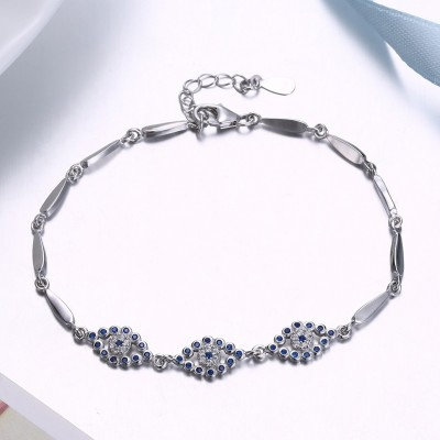 Unique Royal Bleu Eyes Pendant S925 Argent Bracelets
