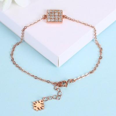Or Rosé/Argent/Or Cube Pendant S925 Argent Bracelets