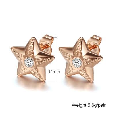Étoile Coupe Ronde Saphir Blanc Or Rosé 925 Argent Sterling Boucles d'oreilles