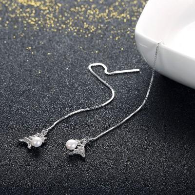 Tour Eiffel Pearl Étoile S925 Argent Boucles d'oreilles