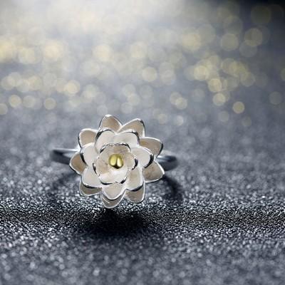 Lotus Or Bead S925 Argent Bagues de Promesse