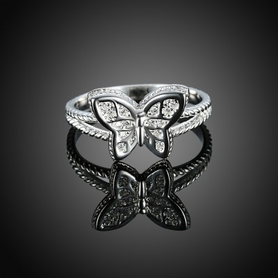 Butterfly Coupe Ronde Saphir Blanc S925 Argent Bagues de Promesse