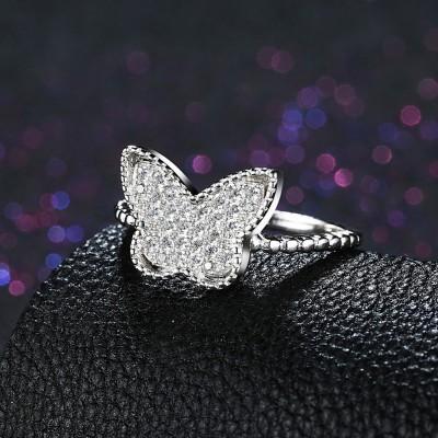 Coupe Ronde Saphir Blanc Butterfly S925 Argent Bagues de Promesse