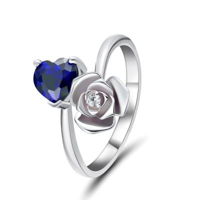 Coupe Coeur Saphir Bleu 925 Argent Sterling Bagues de Promesse pour Elle