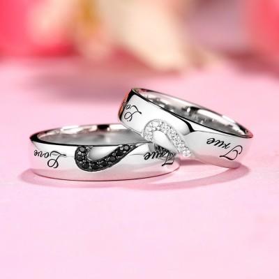 True Amour Blanc et Saphir Noir s925 Argent Bagues de Couple