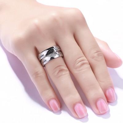 Pour Toujours Amour Coeurs Together Blanc et Saphir Noir s925 Argent Bagues de Couple