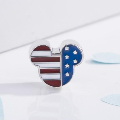 Mickey Étoiles & Stripes Breloque Argent Sterling