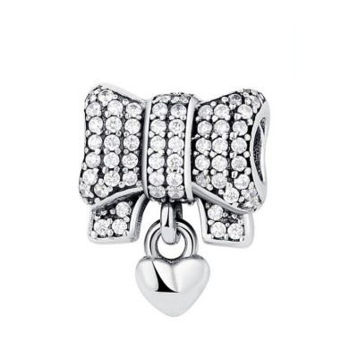 Bowknot & Coeur Breloque Argent Sterling