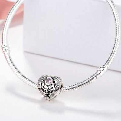 Coeur with Rose Stone Breloque Argent Sterling