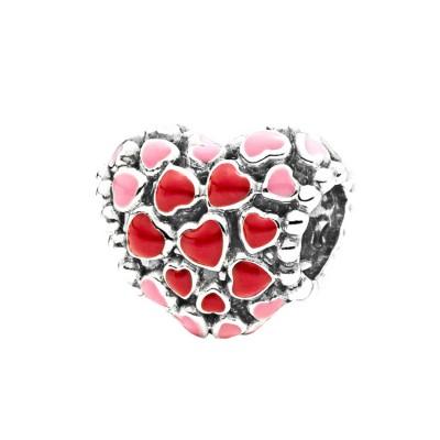 Rose & Rouge Coeurs Breloque Argent Sterling