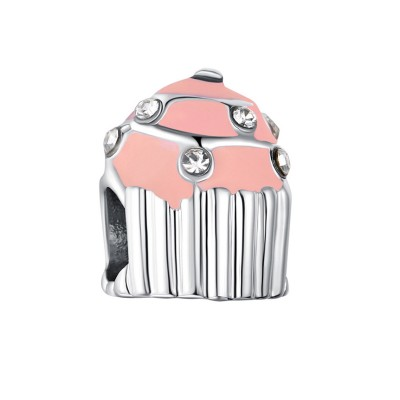 Cupcake Breloque Argent Sterling