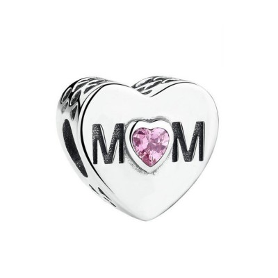 Mom with Rose Stone Breloque Argent Sterling