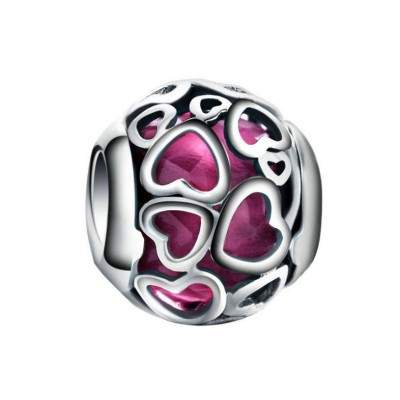 Fuchsia Coeurs Breloque Argent Sterling