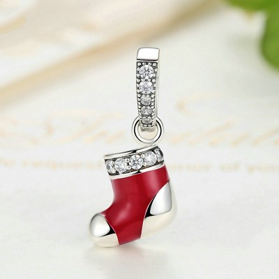 Christmas Shoe Breloque Argent Sterling
