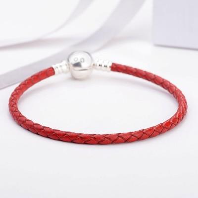 Rouge Woven CuirBreloque Bracelet