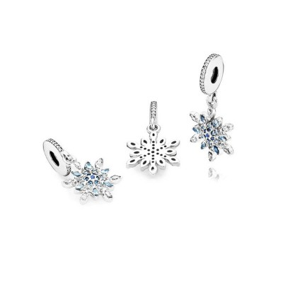 Snowflake with Bleu Stones Breloque Argent Sterling