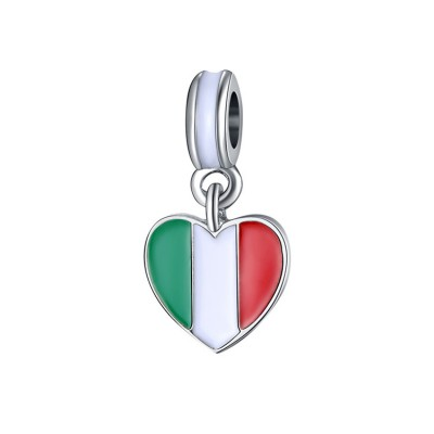 Italian Flag Breloque Argent Sterling