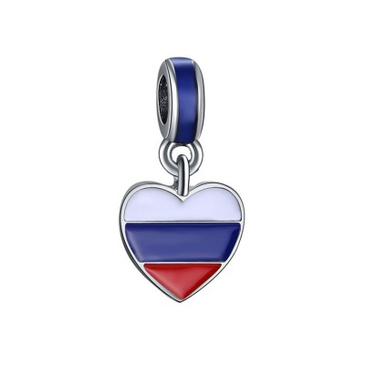 Russian Flag Breloque Argent Sterling