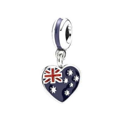 Australian Flag Breloque Argent Sterling