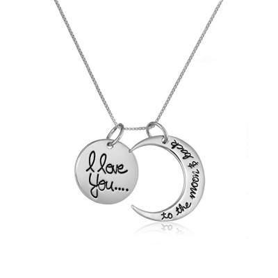 Titane I love you to the moon et Back Pendant Collier